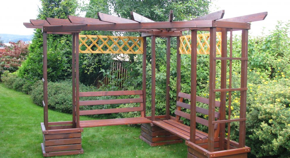 Rohové pergoly 2,3x2,3m - pergoly, dřevěné pergoly, zahradní pergoly, stavebnice pergoly