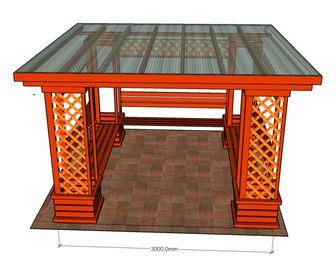 Dřevěná besídka s pultovou střechou