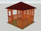 obr. 1 - možnosti doplnění mřížek a plůtků   Zahradní altán Hobby 3x3m, 4 vchody