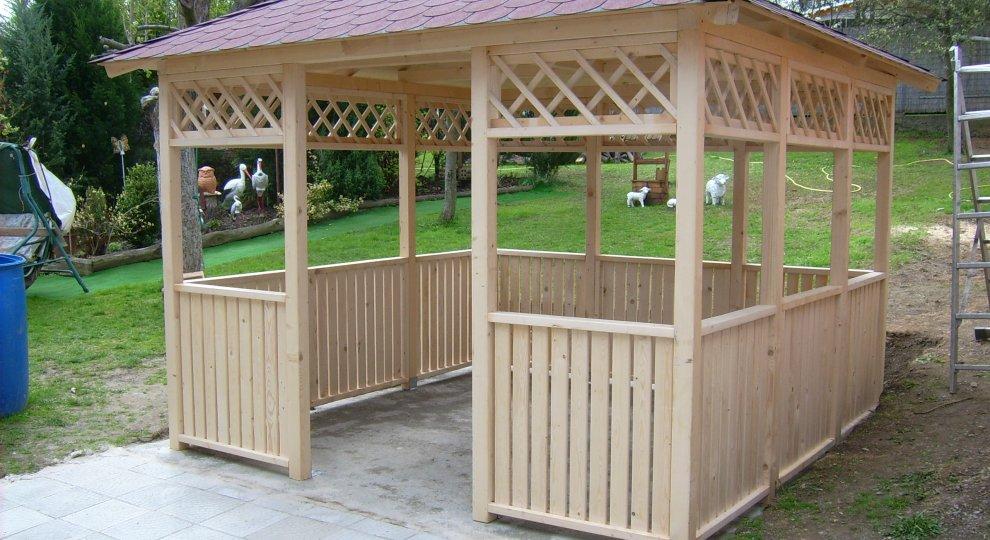 Dřevěný zahradní altán Hobby 3x3m, 4 vchody