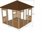 obr. 1 - základní provedení   Zahradní altán mřížkový 3x3m