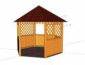 obr. 2 - možnosti doplnění mřížek | Dřevěný zahradní altán šestiboký