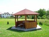 obr. 4 - základní provedení + stůl a židle | Dřevěný zahradní altán šestiboký
