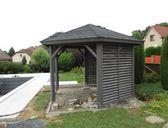 obr.7 - varianta s plnými stěnami | Dřevěný zahradní altán šestiboký