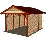 Základní provedení+palubkový štít+boční výplně stěn | Garážový přístřešek se sedlovou střechou 3x5,2 m