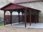 Základní provedení+boční výplň stěny | Garážový přístřešek se sedlovou střechou 3x5,2 m