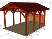 Základní provedení (koty odpovídají pro provedení 3x4,2) | Garážový přístřešek se sedlovou střechou 3x5,2 m