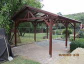 S krytinou trapézový polykarbonát | Garážový přístřešek se sedlovou střechou 3x5,2 m
