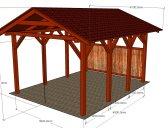 Základní provedení   Garážový přístřešek se sedlovou střechou 3x4,2 m