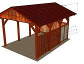 Výplně stěn + palubkový štít   Garážový přístřešek se sedlovou střechou 3x4,2 m