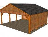 Základní provedení+palubkový štít, + boční výplně | Dřevěná dvojgaráž se sedlovou střechou