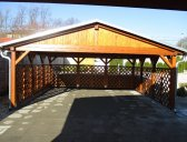 Základní provedení bez dojezdového čela (je v ceně) | Dřevěná dvojgaráž se sedlovou střechou