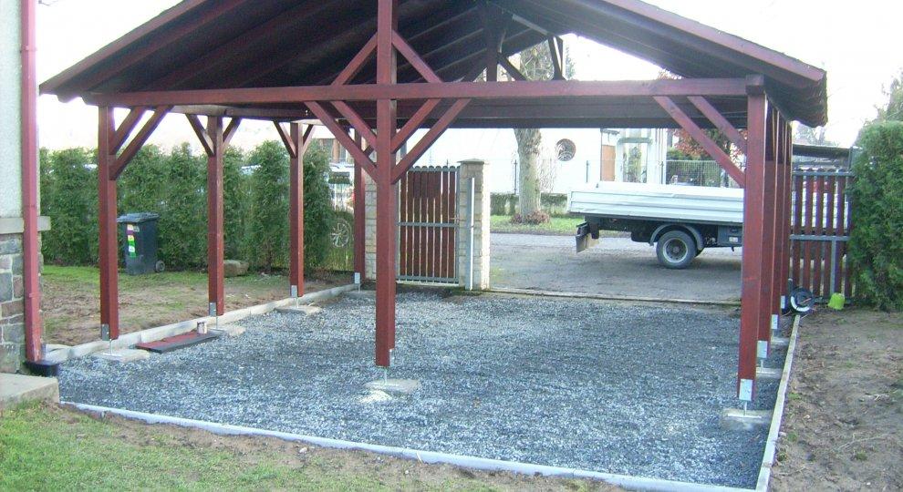 Dřevěná dvojgaráž pro auto – sedlová střecha - garážové stání, přístřešek na auto