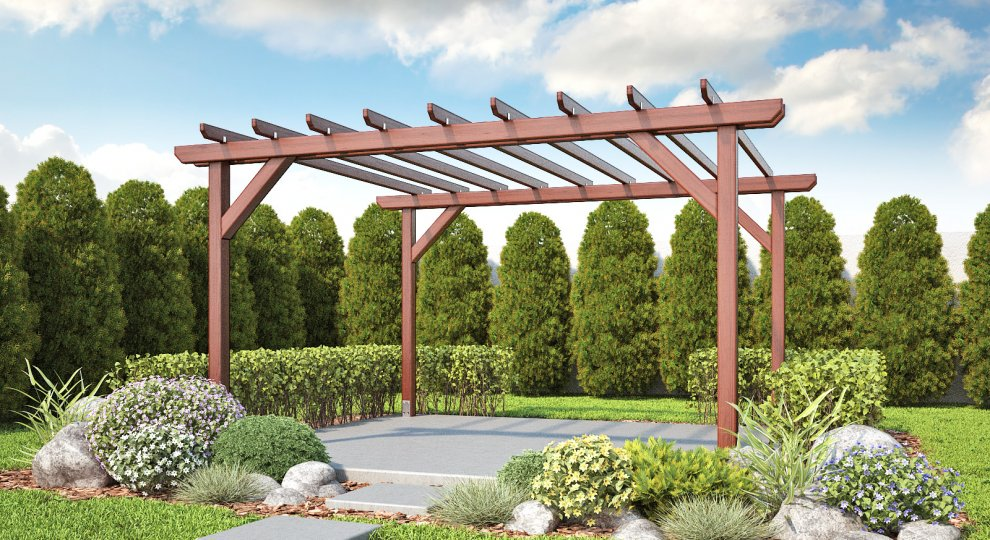 Pergoly Garden varianta 1 - pergoly, pergoly ke zdi domu, dřevěné pergoly, zahradní pergoly, zastřešení terasy, stavebnice pergoly