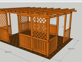 Pergoly Hobby 3x4 m - pergoly, dřevěné pergoly, zahradní pergoly, stavebnice pergoly