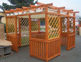 Pergoly Hobby zastřešené 4x3m s baldachýnem - pergoly, dřevěné pergoly, zahradní pergoly, stavebnice pergoly, pergola s baldachýnem