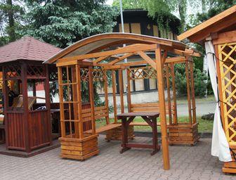 Rohové pergoly s oblouky - pergoly, dřevěné pergoly, zahradní pergoly, stavebnice pergoly