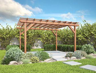 Pergoly Garden varianta 2 - pergoly, pergoly ke zdi domu, dřevěné pergoly, zahradní pergoly, zastřešení terasy, stavebnice pergoly
