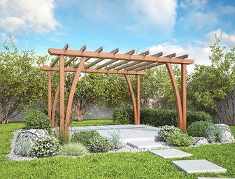 Pergoly Garden varianta 3 - pergoly, pergoly ke zdi domu, dřevěné pergoly, zahradní pergoly, zastřešení terasy, stavebnice pergoly